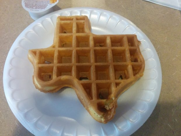Texas Shaped waffle in the AM