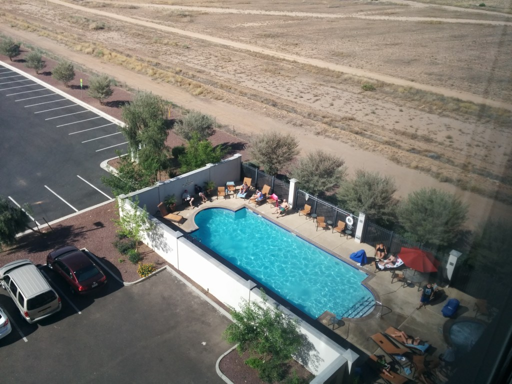 Swimming pool next to the desert