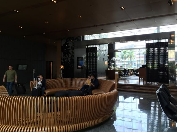Lobby seating and restaurant
