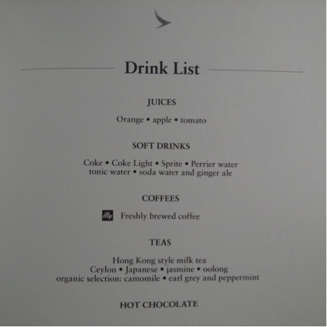 CX DRINKS MENU