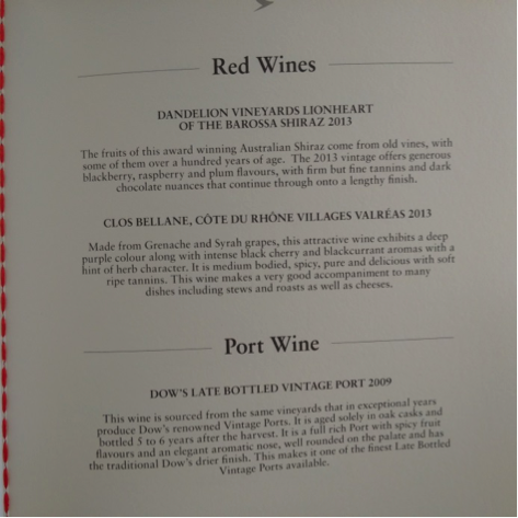 CX WINES MENU