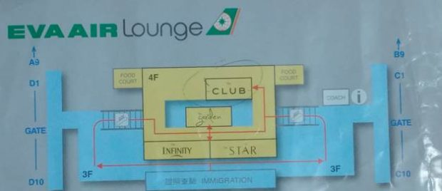 EVA Air Club lounge map (HK Travel Blog)