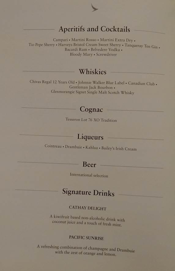 aperitif and cocktail list CX521 (HK Travel Blog)