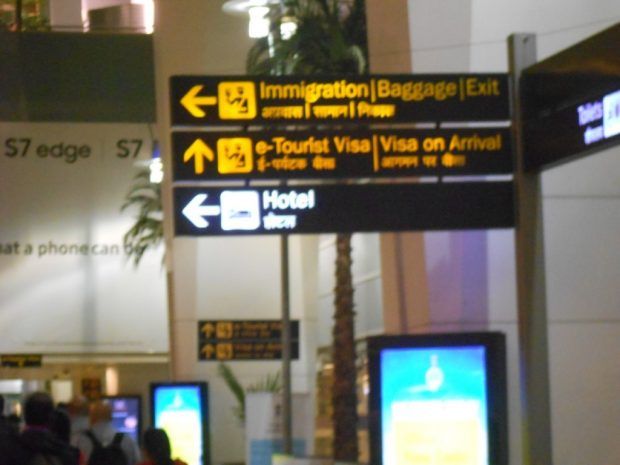 E-visa channel signage, Delhi airport
