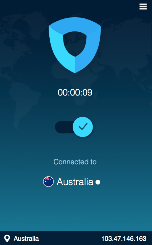 Showing IP now Australia, but I'm sitting in HK