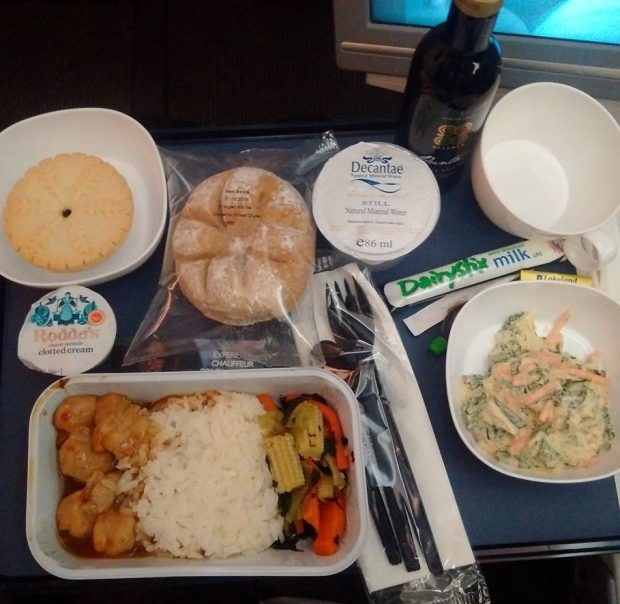 BA economy class dinner ex London