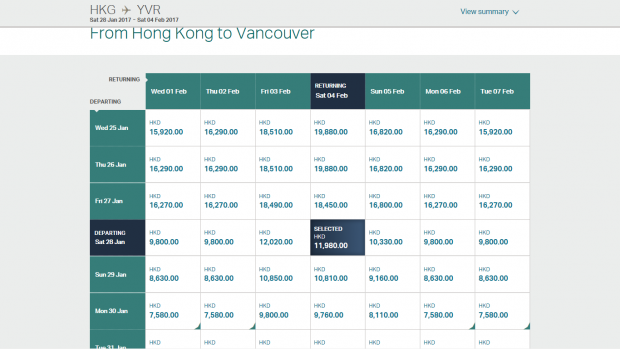 Cathay pricing 1 (HK Travel Blog)