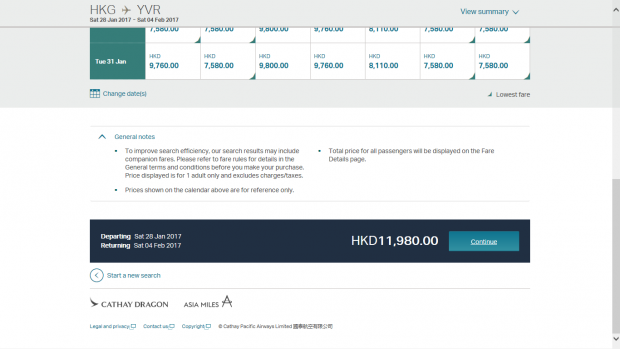 Cathay pricing 2 (HK Travel Blog)