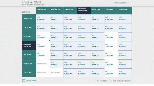 Cathay pricing 6 (HK Travel Blog)