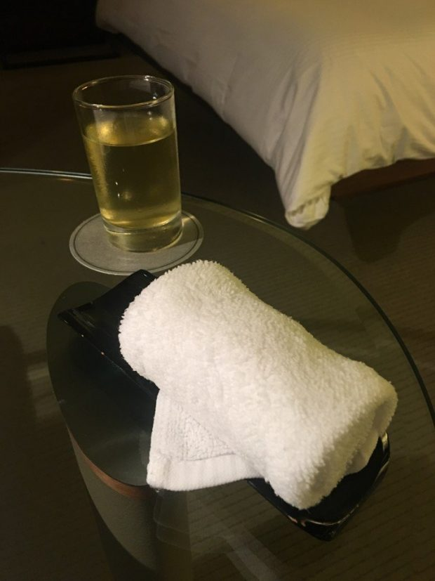 Welcome towel and tea