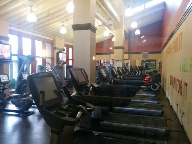 Fitness center with lots of  modern equipment