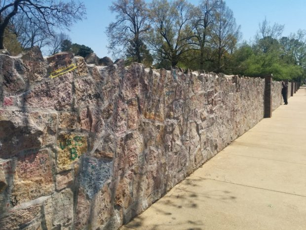 Wall of front of Graceland where you can leave your siganture and message