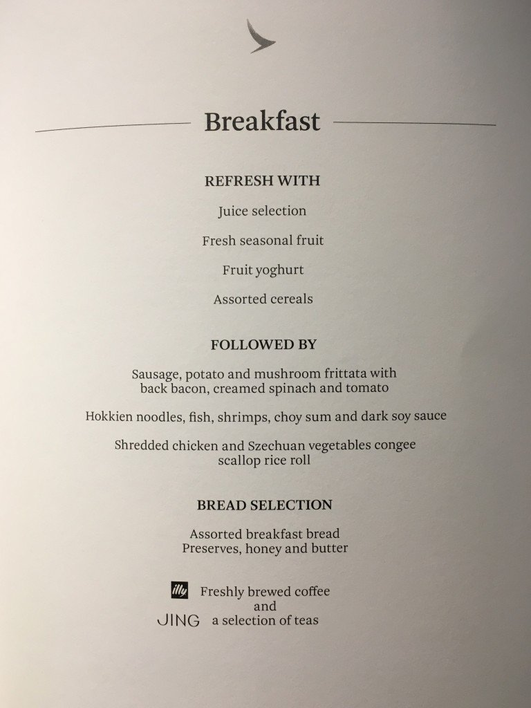 Cathay Pacific A350 Business Class Breakfast Menu
