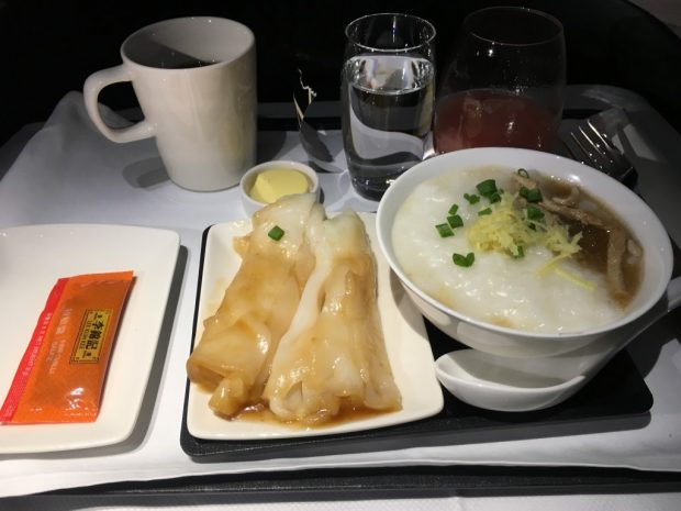 Cathay Pacific A350 Business Class Breakfast Congee